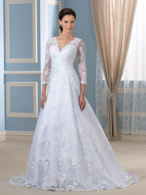 A-Line V-Neck 3/4 Length Sleeve Chapel Appliques Lace Wedding Dress