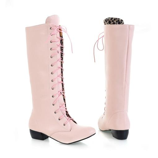 Square Heel Lace-Up Front Knee-High Women's Boots