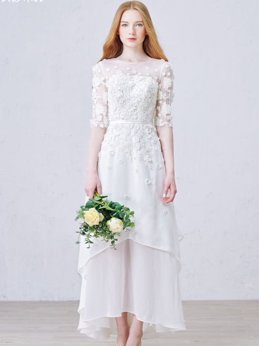 Tea-Length Flowers Half Sleeves Beach Wedding Dress