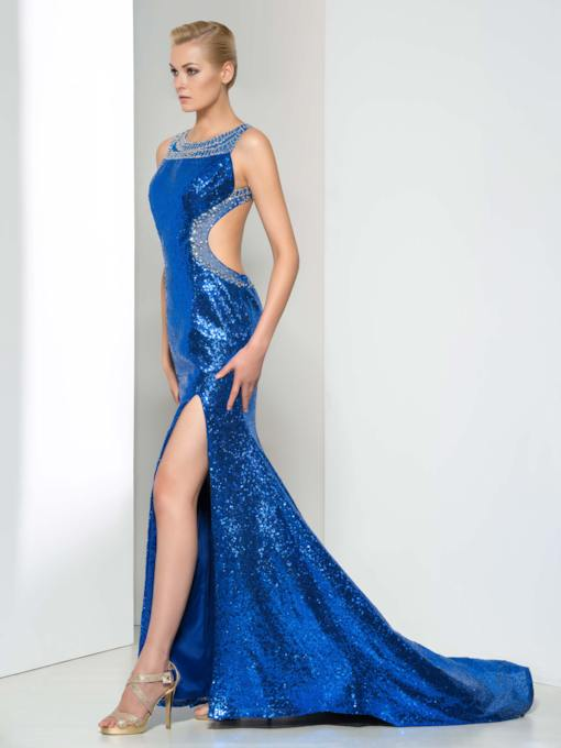 Open Back Sequins Side-Split Evening Dress