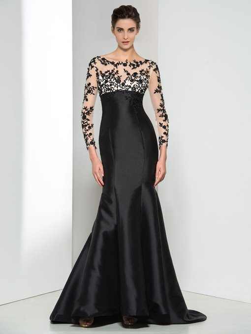Long Sleeve Appliques Zipper-Up Evening Dress