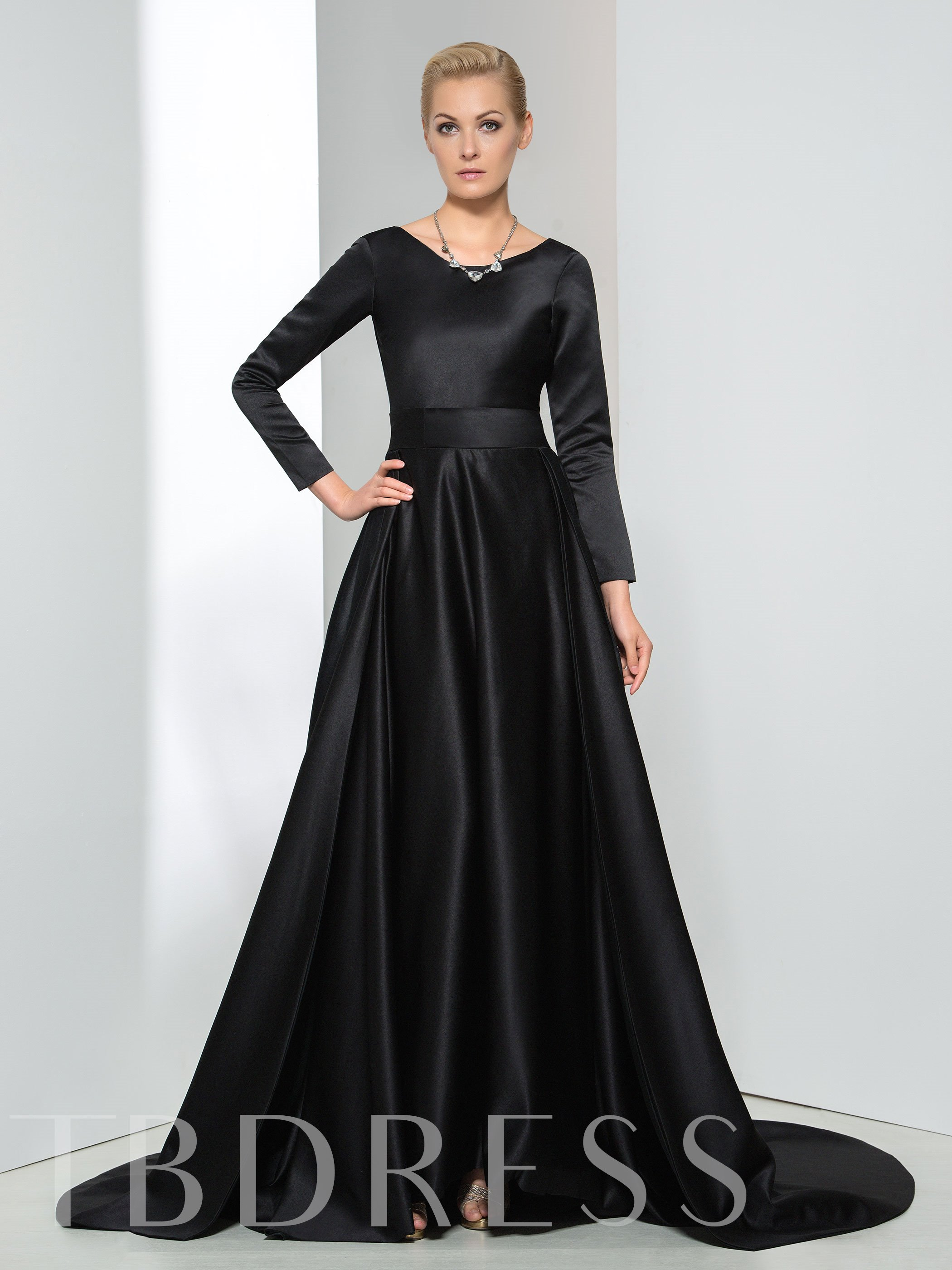Image of A-Line Long Sleeve V-Neck Bowknot Evening Dress