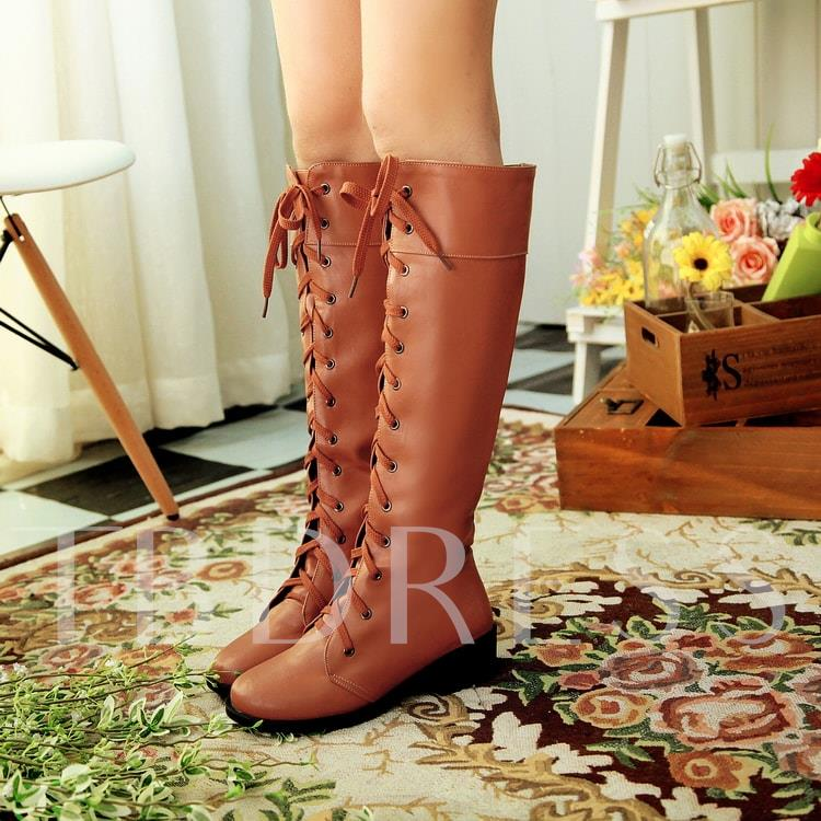 Lace-Up Front Square Mid Heel Round Toe Knee-High Women's Boots