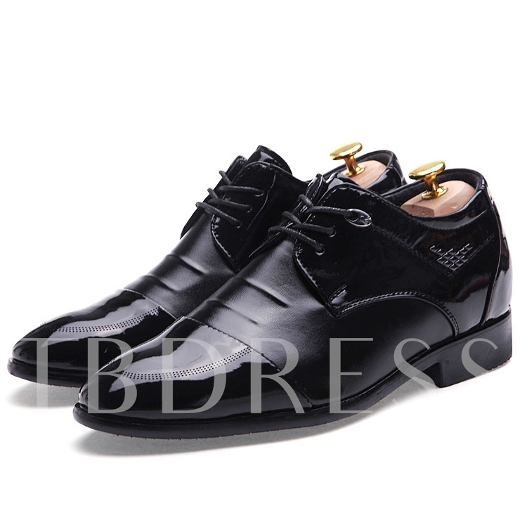 Color Block Pointed Toe Lace-Up Front Square Heel Men's Oxfords