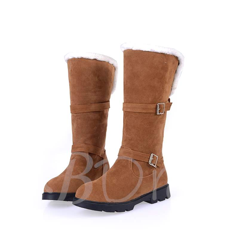 Round Toe Short Floss Slip-On Mid-Calf Women's Boots