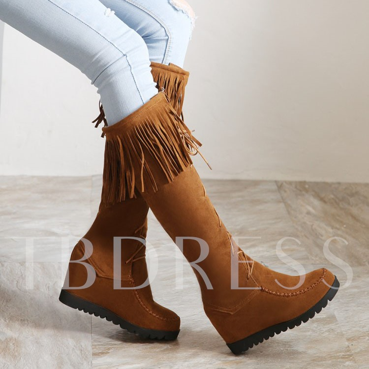 Tassel Round Toe Lace-Up Front Knee-High Women's Boots