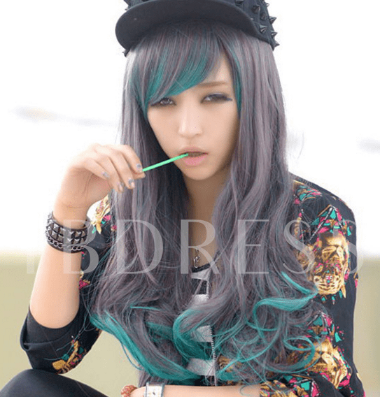 Long Wavy Synthetic Hair Black Mixed Green Cosplay Party Wig