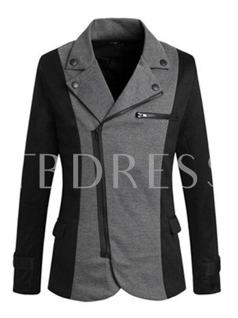 Notched Collar Patchwork Inclined Zipper Slim Fit Men's Blazer