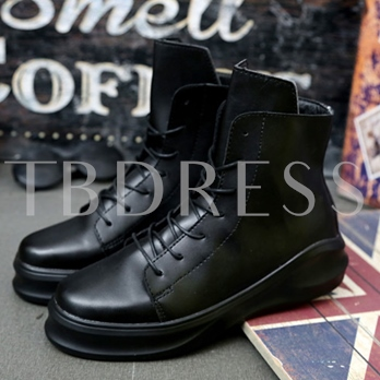 Lace-Up Front Flat Heel Round Toe Men's Ankle Boots