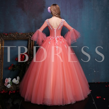 Long Sleeves Round Neck Ball Gown Appliques Beading Quinceanera Dress