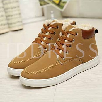 Short Floss Flat Heel Round Toe Lace-Up Front Men's Ankle Boots