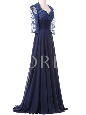 A-Line Half Sleeves Lace Long Evening Dres