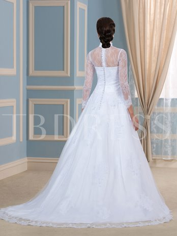 High Neck Lace 3/4 Length Sleeve Tulle Ball Gown Wedding Dress
