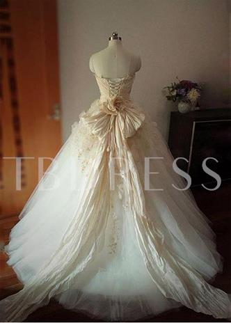 Strapless Appliques Beading Flowers Ball Gown Wedding Dress