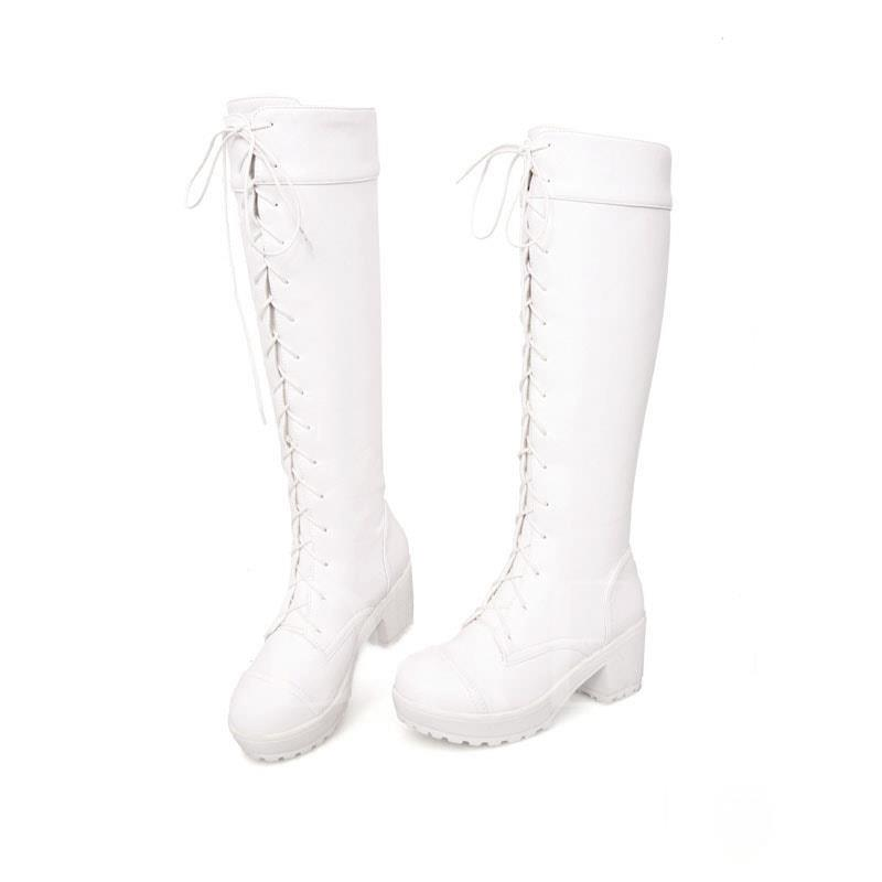 Square Heel Platform Lace-Up Front Round Toe Knee-High Women's Boots