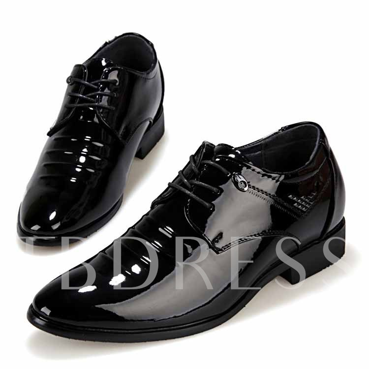 Square Heel Lace-Up Front Pointed Toe Sequins Men's Oxfords