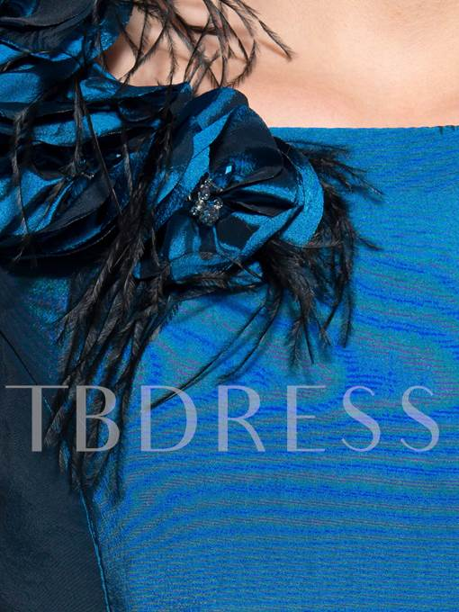Blue Floor-Length Mermaid Taffeta Brush Train Mother of the Bride Dress