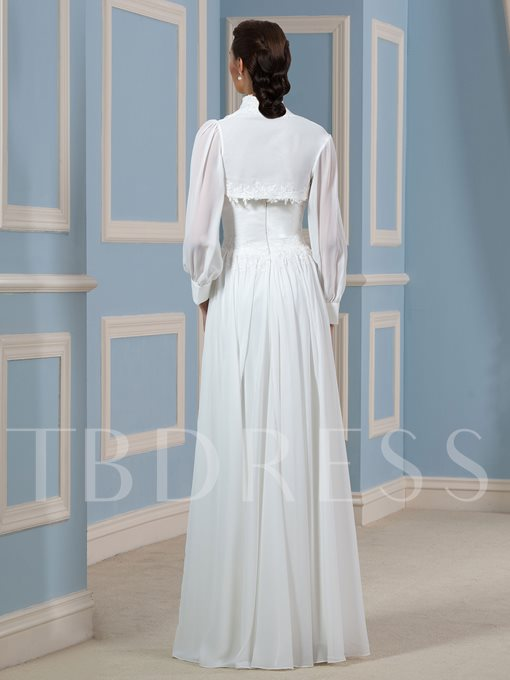 Appliques Chiffon Wedding Dress with Long Sleeve Jacket