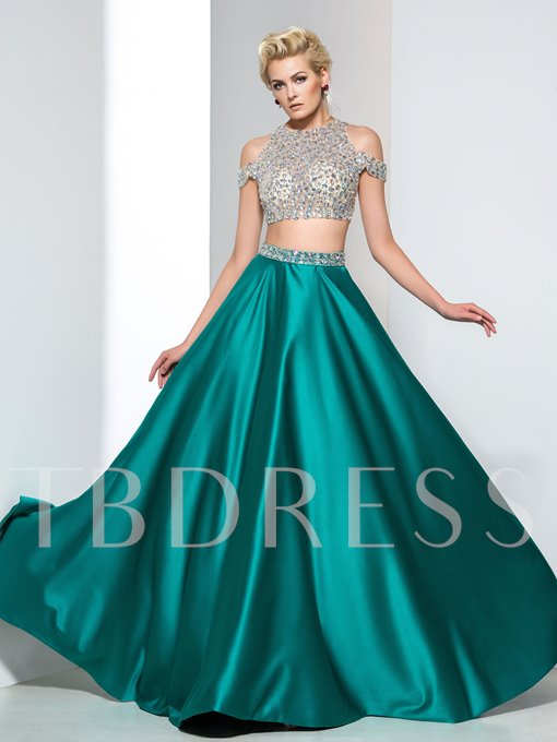 A-Line Two-Piece Beaded Zipper-Up Long Prom Dress