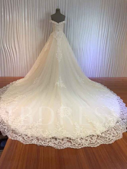 A-Line Cathedral Lace Appliques Off-The-Shoulder Princess Wedding Dress
