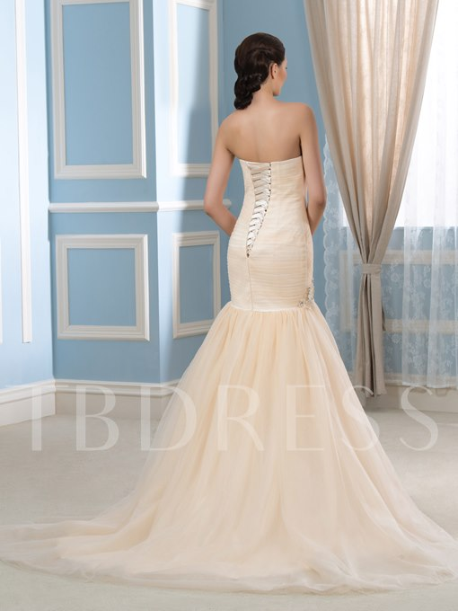 Floral Appliques Sweetheart Pleated Tulle Color Mermaid Wedding Dress