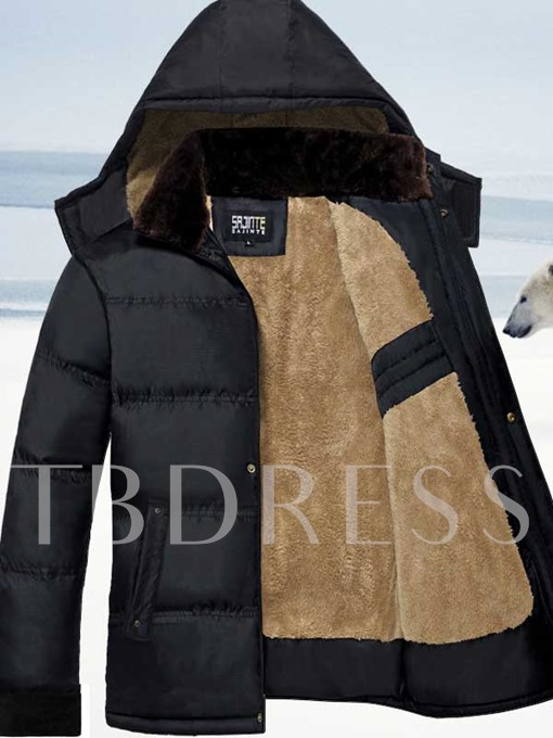 Men's Sherpa Lined Coat with Solid Color
