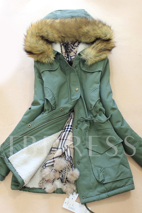 Mid-Length Solid Color Women's Overcoat (Plus Size Available)