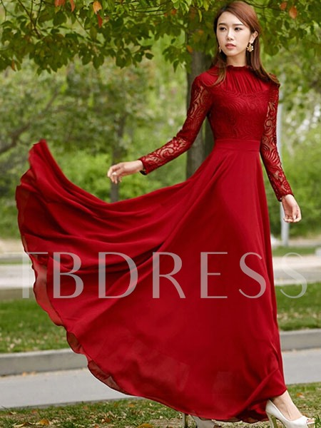 Burgundy Lace Patchwork Women's Maxi Dress