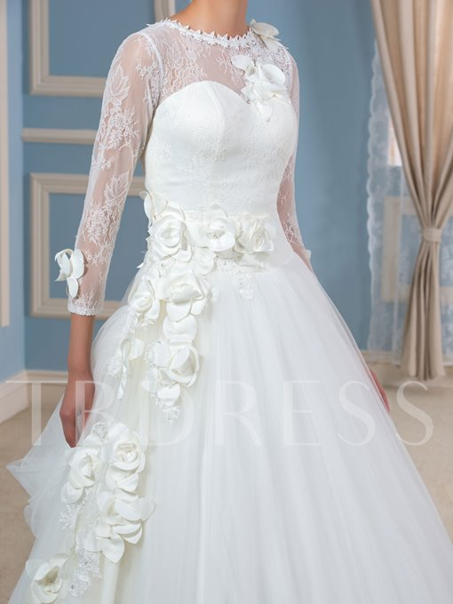 Lace Flowers Tulle Ball Gown 3/4 Length Sleeves Wedding Dress
