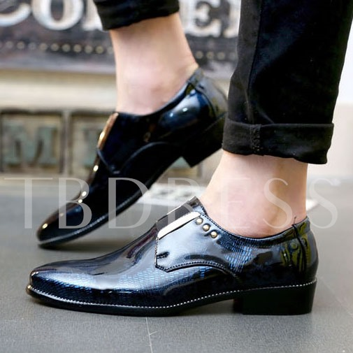 Square Heel Pointed Toe Geometric Printer Men's Oxfords