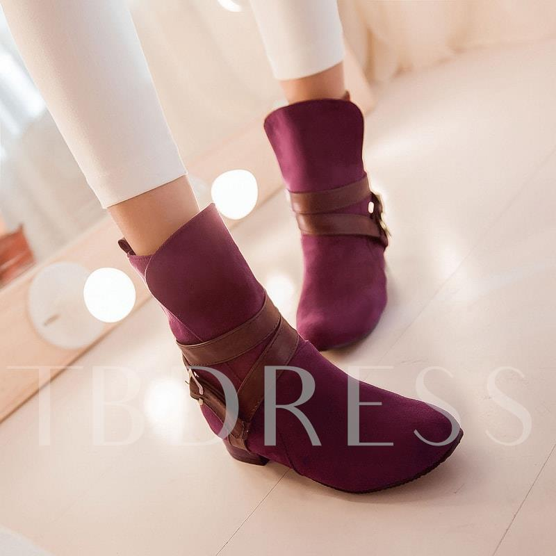 Slip-On Round Toe Square Heel Buckle Ankle Women's Boots
