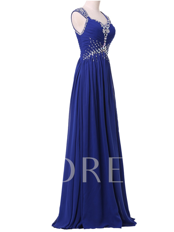 A-Line Cap Sleeve Pleats Beaded Evening Dress