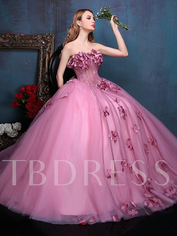Strapless Ball Gown Lace Flowers Beading Quinceanera Dress