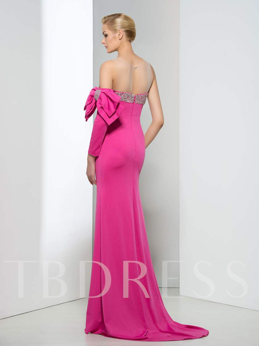 Sheer Neck Beading Bowknot Long Sleeve Evening Dress