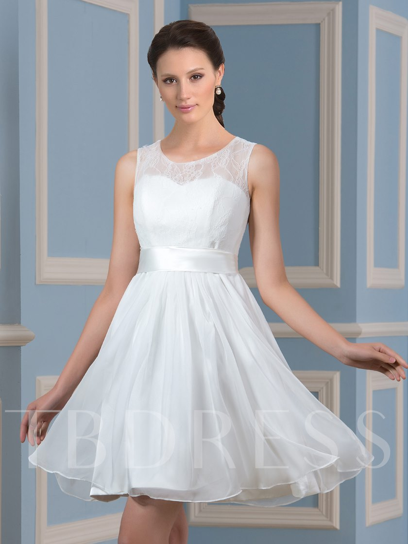 Simple Chiffon Lace A-Line Knee-Length Short Wedding Dress