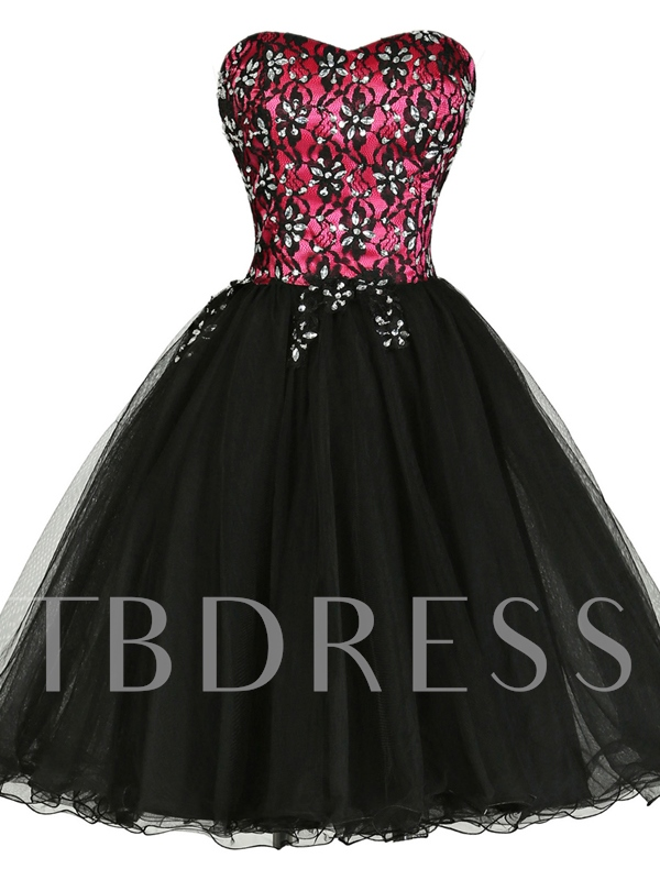 Beaded A-Line Sweetheart Lace Knee-Length Cocktail Dress