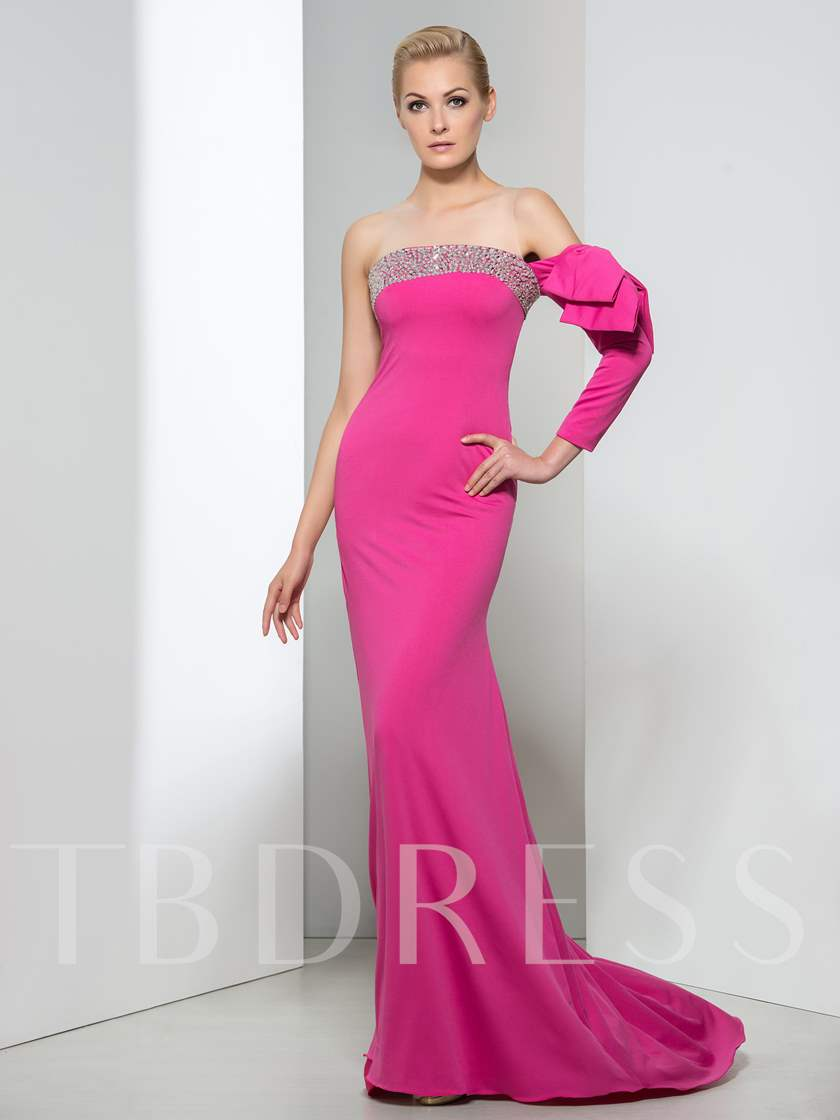 Sheer Neck Beade Mermaid Bowknot Sequins Long Evening Dress