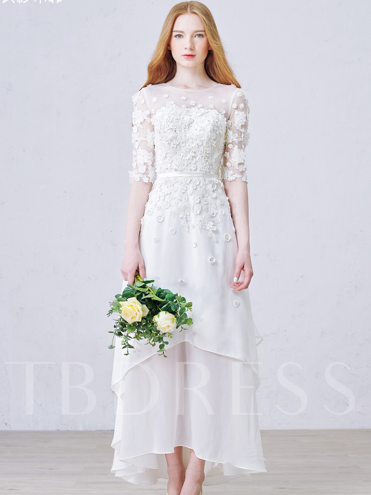 Tea Length Flowers Half Sleeves Beach Wedding Dress Tbdress