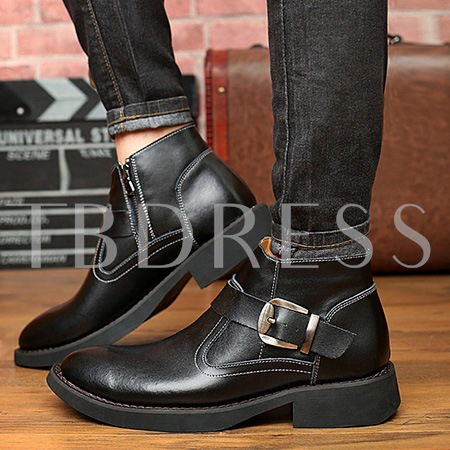 Round Toe Buckle Side Zipper Square Heel Ankle Men's Boots