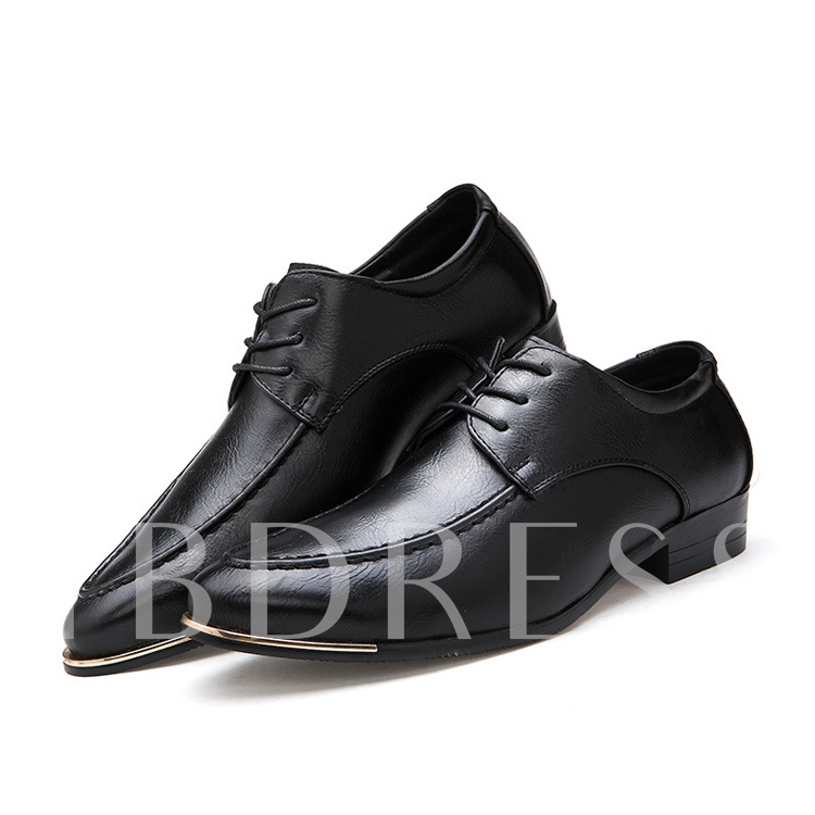 Pointed Toe Square Heel Sequins Lace-Up Front Men's Oxfords