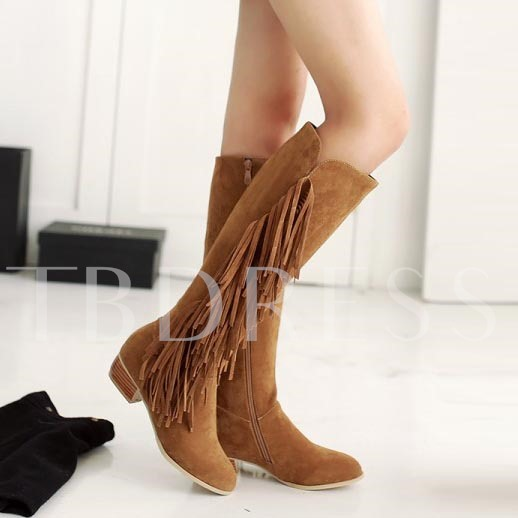 Square Heel Round Toe Side Zipper Tassel Knee-High Women's Boots