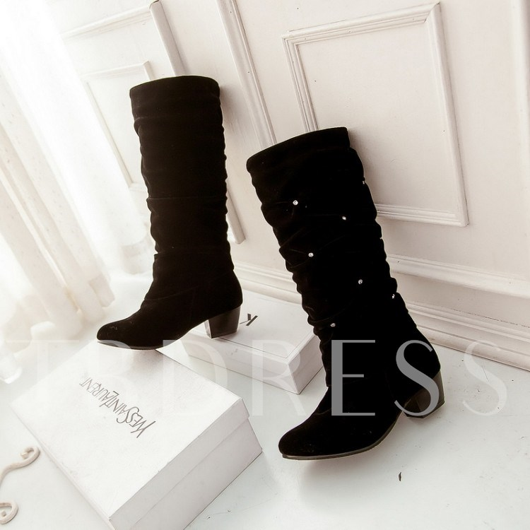Rhinestone Chunky Heel Slip-On Knee-High Round Toe Women's Boots