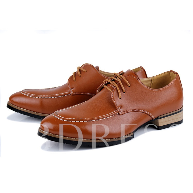 Lace-Up Front Square Heel Pointed Toe Low-Cut Upper Men's Oxfords