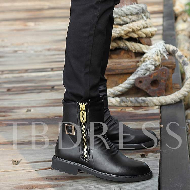 Black Pleated Zipper Buckled Boots