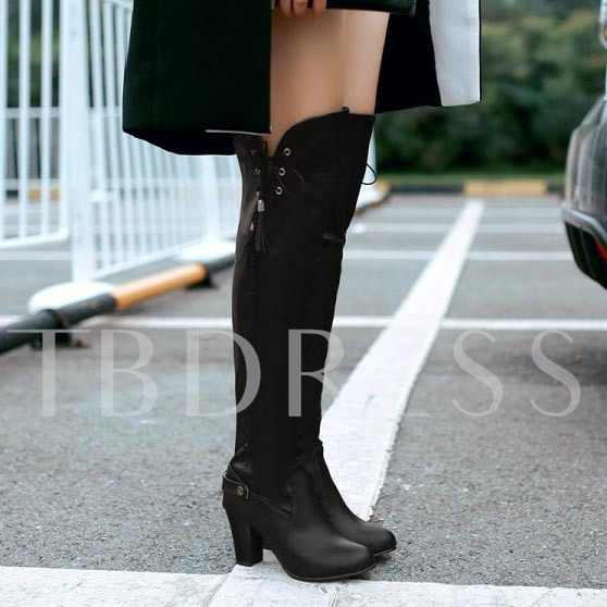 Chunky Heel Round Toe Lace-Up Back Over-the-Knee Women's Boots
