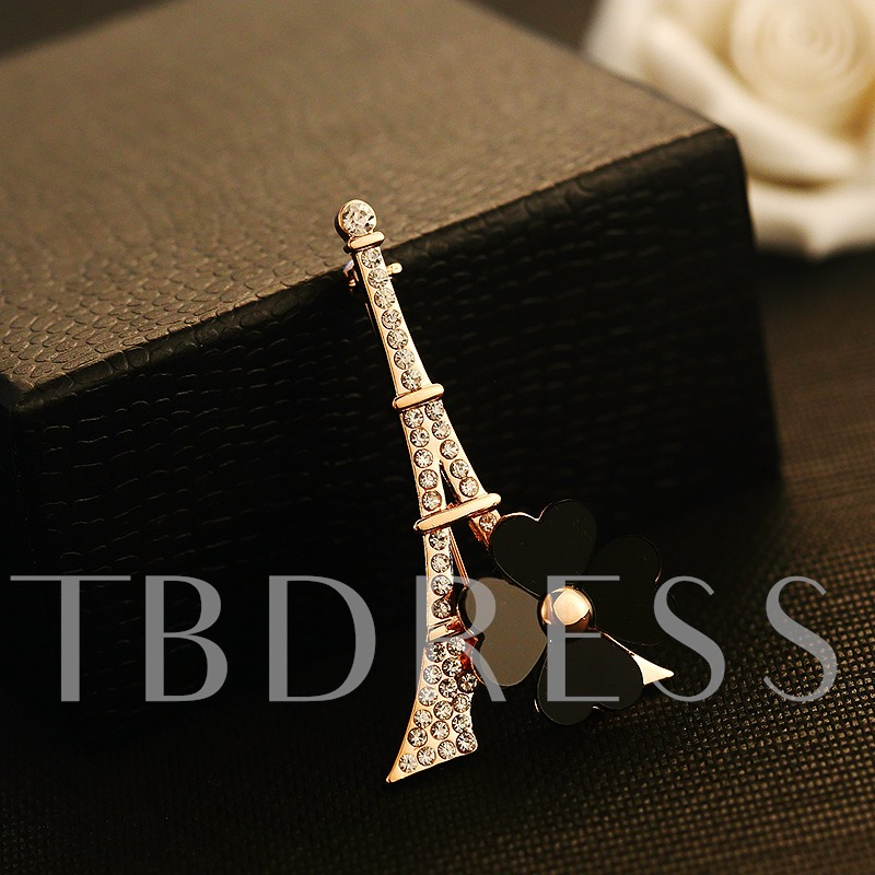 Paris Tower Flower Brooch