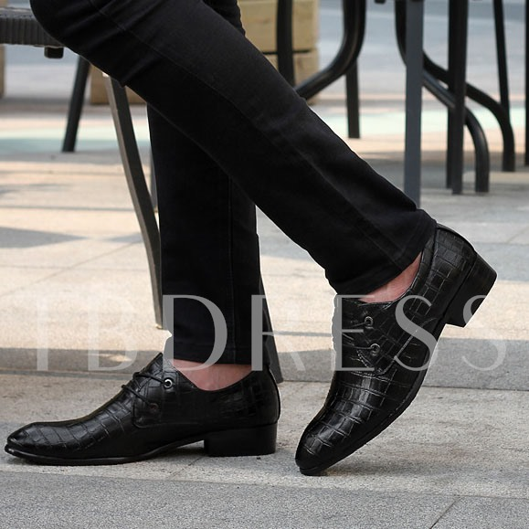 Lace-Up Front Square Heel Plaid Pointed Toe Men's Oxfords