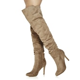 Round Toe Side Zipper Leopard Stiletto Heel Over-the-Knee Women's Boots