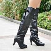 Round Toe Stiletto Heel Lace-Up Back Knee-High Women's Boots