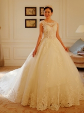 Cap Sleeves Sequins Appliques Ball Gown Wedding Dress